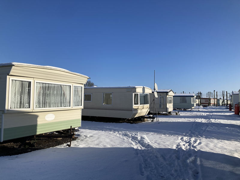 Caravan site in winter